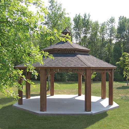 Large wooden gazebo with pagoda and cupola.