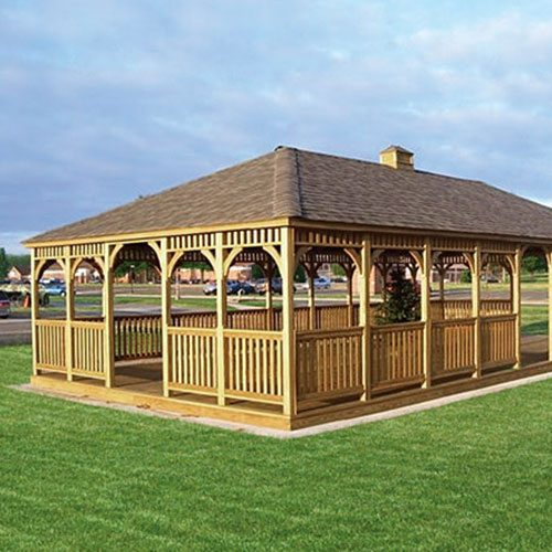 20 by 40 Rectangle Gazebo with Dutch style posts and Golden Oak stain.